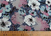 Джинс принт рубашечный ( белый цветки)
