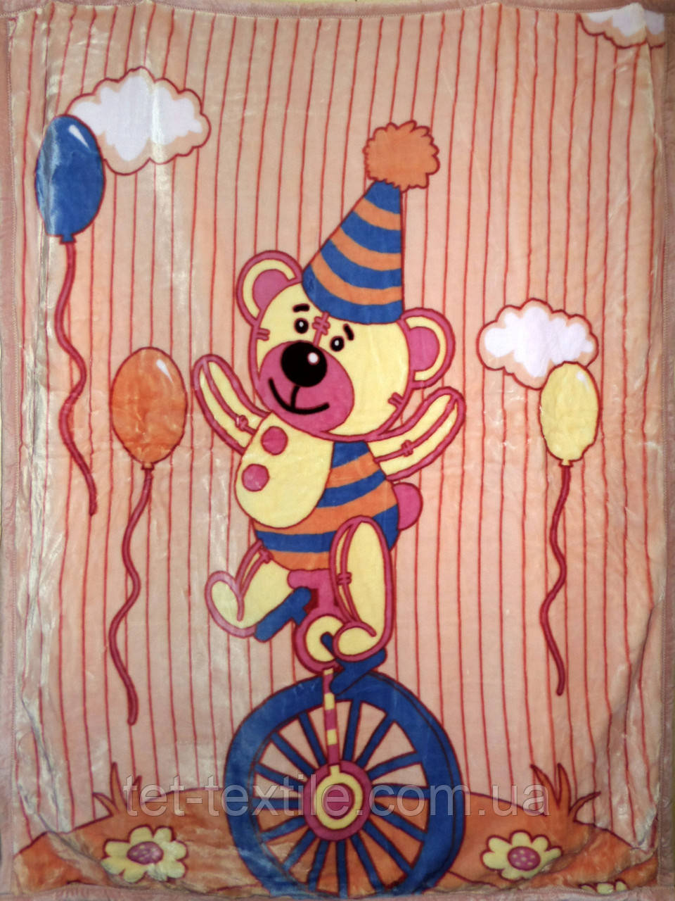 """Плед детский акриловый """"Мишка на велосипеде"""" бежевый (110х145)"""
