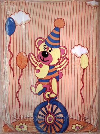 """Плед детский акриловый """"Мишка на велосипеде"""" бежевый (110х145), фото 2"""