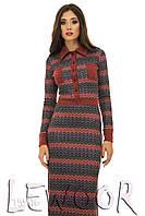 Длинное платье из ангоры с этническим рисунком
