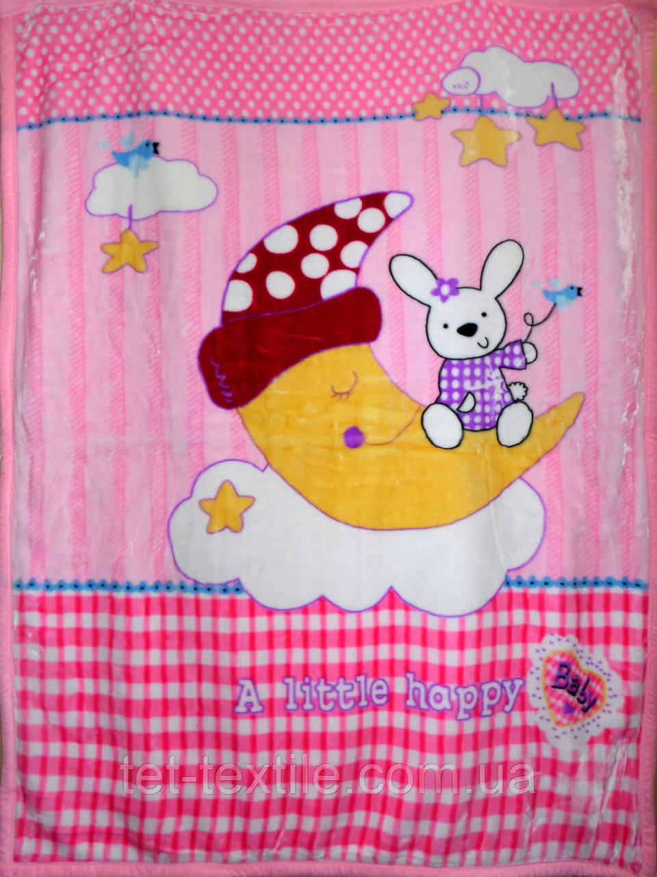 """Плед детский акриловый """"Зайчик на луне"""" розовый (110х145)"""