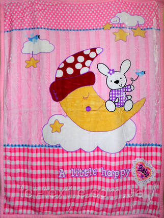"""Плед детский акриловый """"Зайчик на луне"""" розовый (110х145), фото 2"""