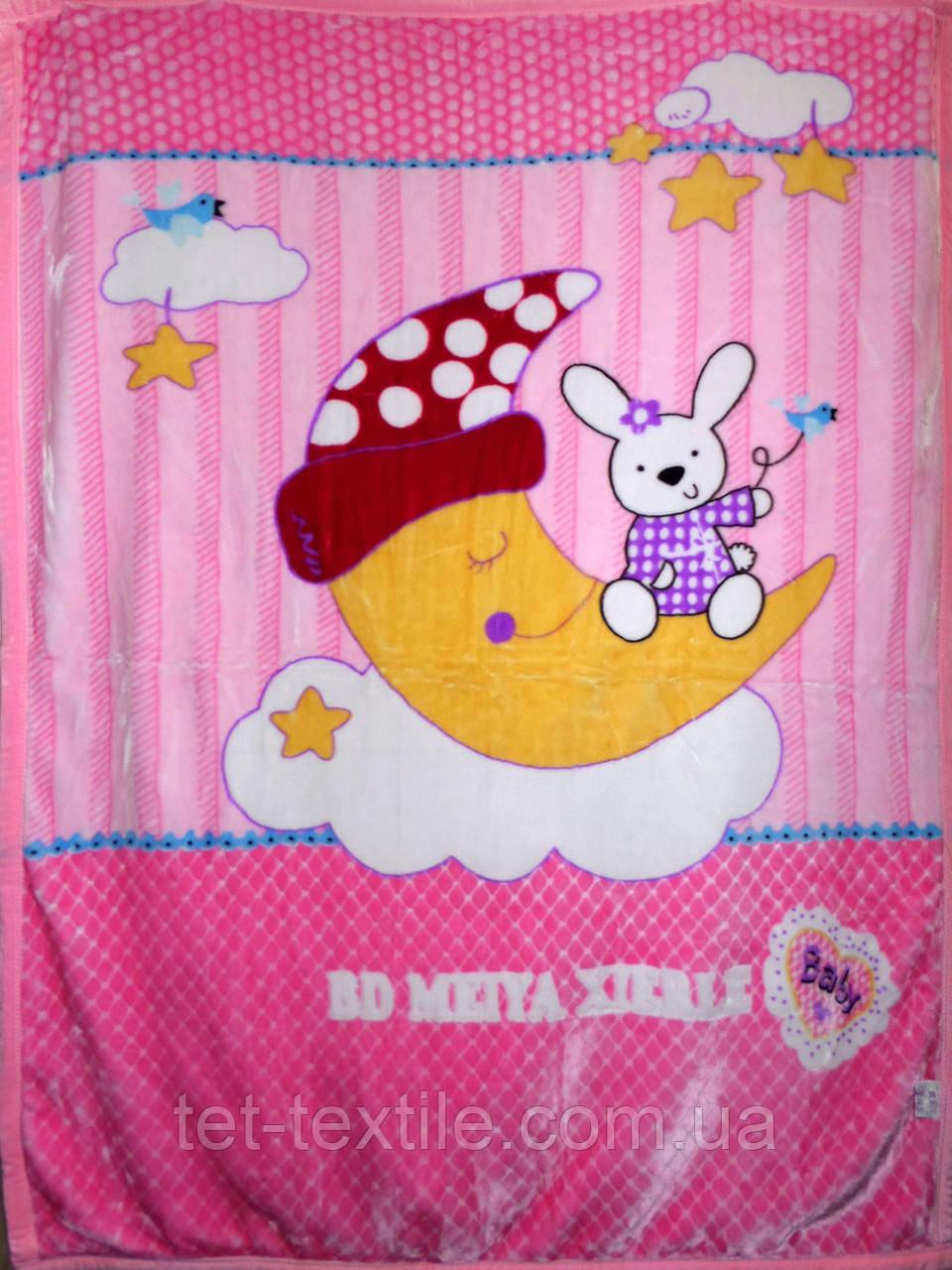 """Плед детский акриловый """"Зайчик на луне"""" розовый ромбик (110х145)"""