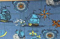 Джинсовая ткань рубашечная корабль (сред.синий)