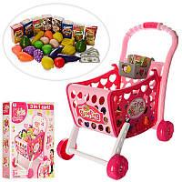 Детская тележка с продуктами розовая арт. 008-902