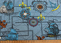 Джинсовая ткань рубашечная корабль(светлый синий)