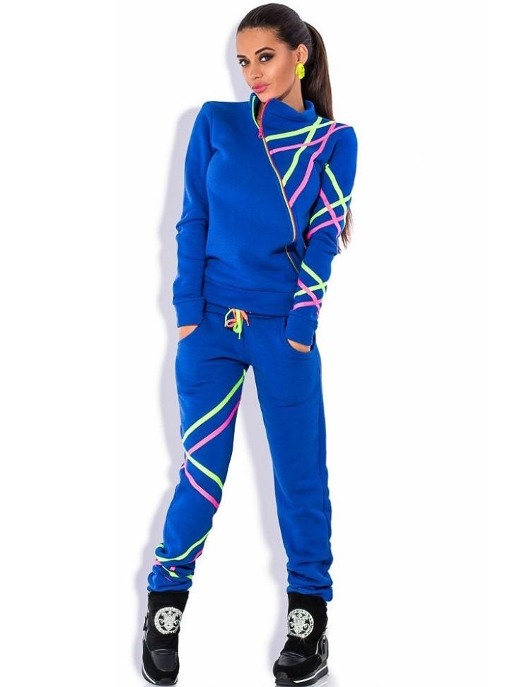 Синий спортивный костюм с манжетами