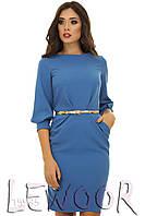 Вечернее креповое платье с карманами Голубой, Размер 42 (S)