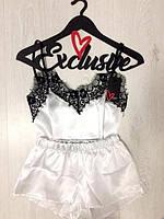 Женская пижама, Комплект майка и шорты из атласа с кружевом ТМ Exclusive