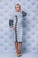 Праздничное платье ( в наличии большие размеры) с кружевом светло серое