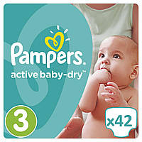 Подгузники Pampers Active Baby-DryРазмер 3 (Midi) 5-9 кг, 42 подгузника