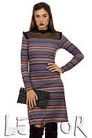Нарядное ангоровое платье с вставкой гофре-сетка