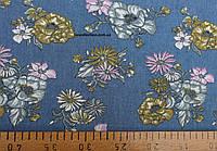 Джинсовая ткань рубашечная (сред.синий)
