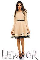 Праздничное платье с ярусной юбкой и органзой снизу