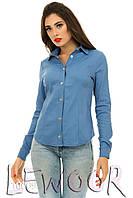 Нежная джинсовая рубашка стрейч с кнопками