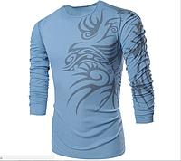 Свитер, свитшот мужской с принтом L, XL, XXL синий код 3