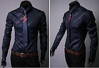 Оригинальная синяя мужская рубашка длинный рукав L, XL, XXL код 7