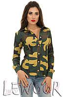 Стильная рубашка из джинсовой ткани милитари