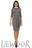 Платье из полушерстяной ткани с разрезом сзади