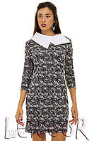 Платье в стиле Коко Шанель с рукавом ¾ и белым воротником Черный, Размер 48 (XL)