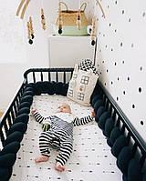 Бортик для детской кроватки, черный