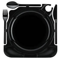 """Набір столових приборів 6 пер. """"All in one"""" (тарілка *23 см, ложка, вилка,ніж) чорн. кольору PS"""