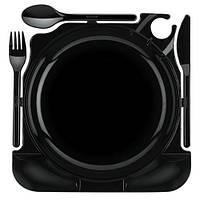 "Набор столовых приборов одноразовый 6 персон ""All in one"" (тарелка *23 см, ложка, вилка, нож) чёрного цвета Pap Star"