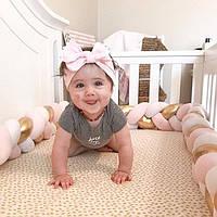 Бортик для детской кроватки, золотисто-персиково-белый