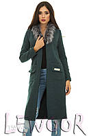 Кардиган-пальто из кашемира и воротником из меха Зеленый, Размер 46 (L)