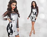 Платье трикотажное, двусторонняя пайетка, сетка, размер 42-46 44, серебро+черный