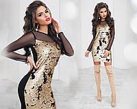 Платье трикотажное, двусторонняя пайетка, сетка, размер 42-46 42, черный+золото