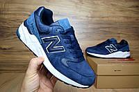Мужские+подростковые кроссовки New Balance 999 синие замша