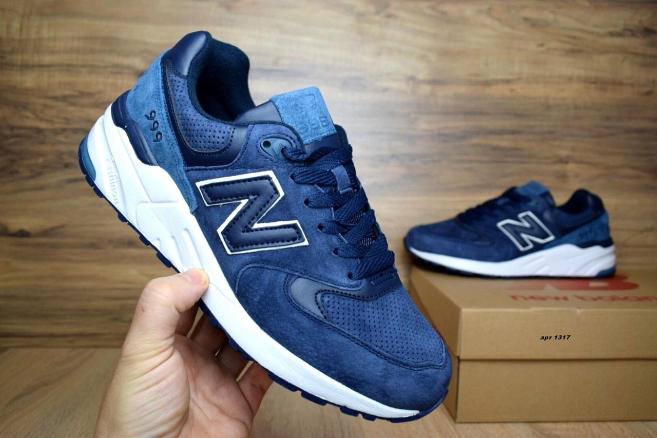Мужские+подростковые кроссовки New Balance 999 синие замша реплика+живые  фото 37c38577d2d37