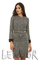 Шерстяное платье в елочку с широким поясом