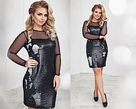 Платье трикотажное, двусторонняя пайетка, сетка, размер 48-54 50, черный матовый+серебро