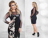 Платье трикотажное, двусторонняя пайетка, сетка, размер 48-54 50, черный+золото
