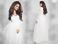 Платье гипюр, плотный атлас, фатин,  размер 42-46 42, белый