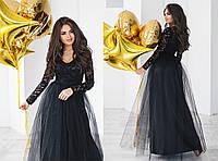Платье гипюр, плотный атлас, фатин,  размер 42-46 46, черный
