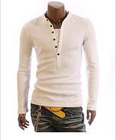 Мужской свитшот, свитер на пуговицах M, L,  белый код 5 Распродажа!, фото 1