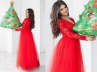 Платье гипюр, плотный атлас, фатин,  размер 42-46 42, красный