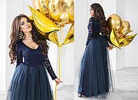 Платье гипюр, плотный атлас, фатин,  размер 42-46 44, темно-синий