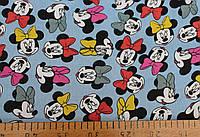 Джинсовая ткань рубашечная (микки- маус , свет.синий)
