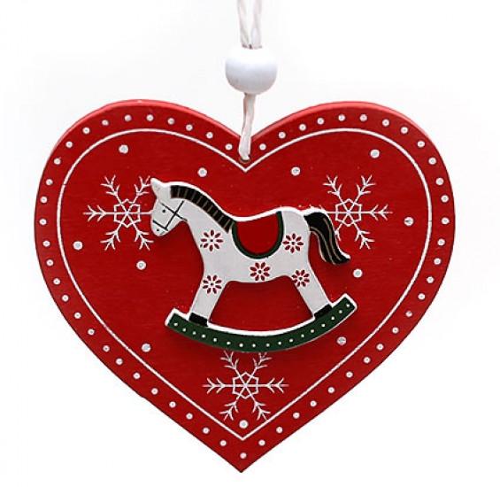 Новогодние украшения Сердце с лошадкой