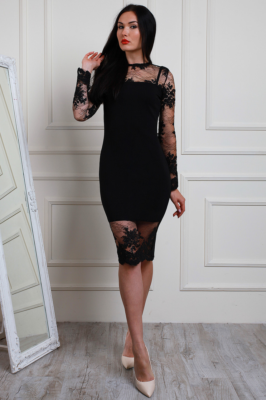 4ba3bed3d27 Шикарное черное платье из креп-дайвинга и французским кружевом от ...