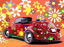 Картина-раскраска DIY Babylon Назад в 60-е (красная машина) (VK174) 30 х 40 см