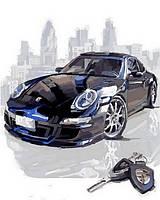 Картины по номерам машины Черный Порше (VP805) 40 х 50 см DIY Babylon