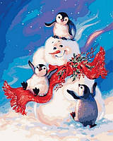 Картина раскраска Пингвинчики и снеговик (MR-Q2141) 40 х 50 см Mariposa