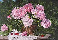 «Пионы в саду» картина маслом