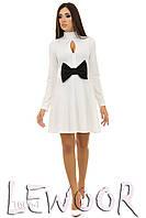 Клубное платье с большим бантом спереди из трикотажа