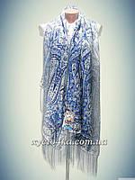 Шерстяной шарф палантин, белый с синим